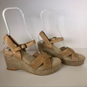 Dunes Leather Platform Sandals Size 11M Tan Straps